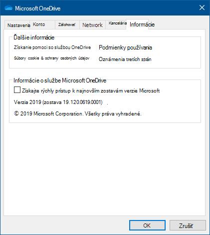 Používateľské rozhranie okna Informácie OneDrivu