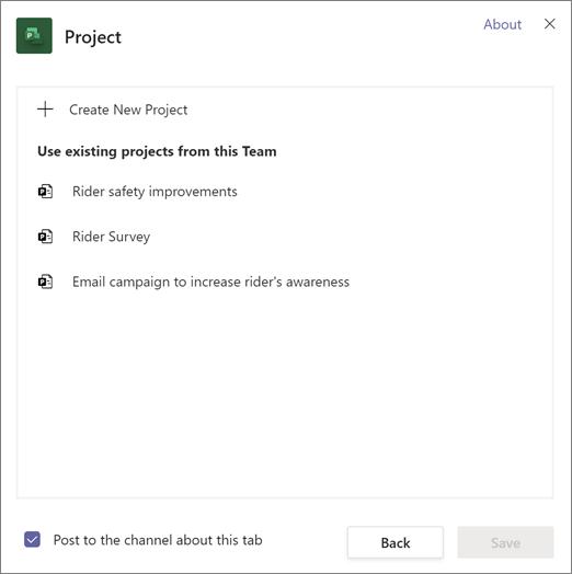 Snímka obrazovky s dialógovým oknom Project v aplikácii teams