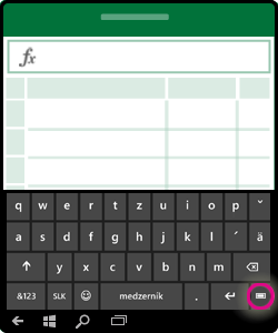 Obrázok znázorňujúci spôsob skrytia klávesnice na obrazovke