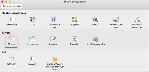 Čítanie vybrali so zobrazením predvoľby programu Outlook