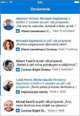 Oznámenia vaplikácii Outlook Skupiny Mobile
