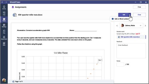 Vyberte šípku nadol vedľa tlačidla Edit (Upraviť) apotom vyberte položku Upraviť vo Worde Online.