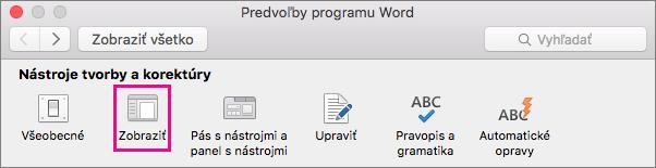 V predvoľbách Wordu môžete zmeniť predvoľby zobrazenia kliknutím na položku Zobraziť.
