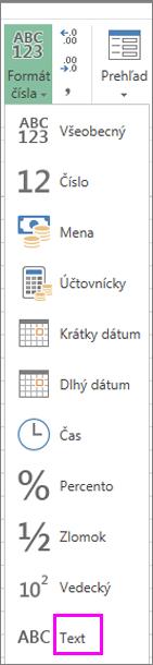Formát Text pre čísla