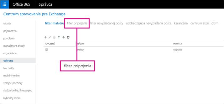 Vyberte položku Ochrana a potom kliknite na filter pripojenia.