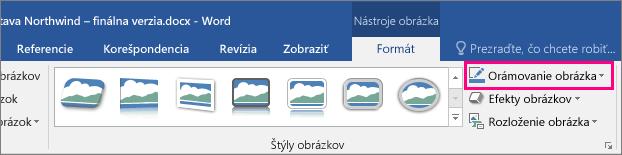 Zvýraznená možnosť Orámovanie obrázka na karte Formát v časti Nástroje obrázka