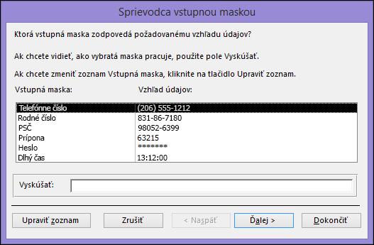 Sprievodca vstupnou maskou vpočítačovej databáze Accessu