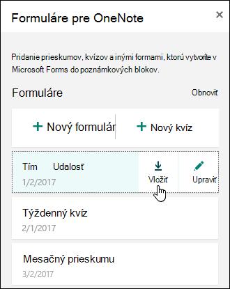 Zoznam formulárov vo formulároch pre OneNote pre webový panel