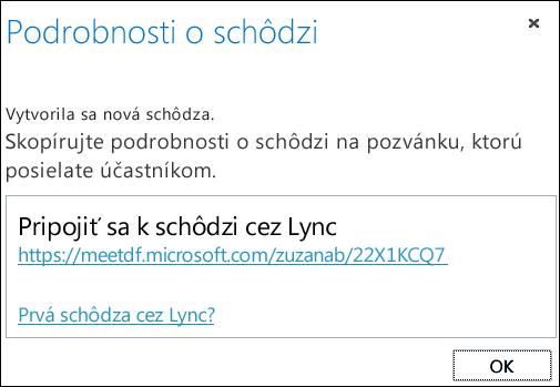 Snímka obrazovky s oknom s podrobnosťami o schôdzi