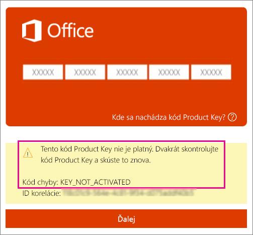 Kód chyby Kód nebol aktivovaný.
