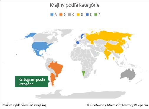 Kartogram v Exceli podľa kategórie