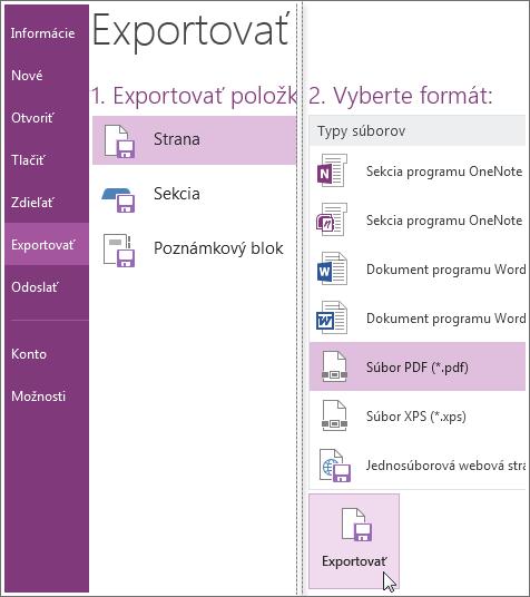 Poznámky môžete exportovať v iných formátoch, ako sú PDF, XPS alebo dokument programu Word.