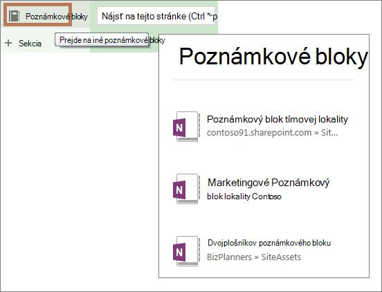 Zobrazenie zoznamu poznámkových blokov