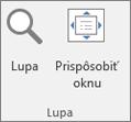 Priblíženie skupiny na páse s nástrojmi programu PowerPoint