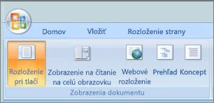 Snímka obrazovky zobrazuje skupinu zobrazenia dokumentu s vybratou možnosťou rozloženie pri tlači. Ďalšie možnosti, ktoré sú k dispozícii sú čítanie na celú obrazovku, webové rozloženie, prehľadu a návrh.