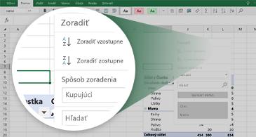 Excelový hárok s kontingenčnou tabuľkou a priblížením na skupinu dostupných funkcií
