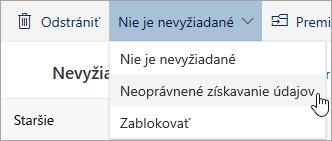 Snímka obrazovky s ponukou nie je nevyžiadané s možnosťou pre vybratý neoprávnené získavanie údajov