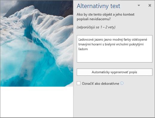 Nové dialógové okno Alternatívny text so zobrazením automatického vygenerovaného alternatívneho textu vo Worde