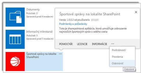 Snímka obrazovky spríkazom na odstránenie vbubline svlastnosťami aplikácie.