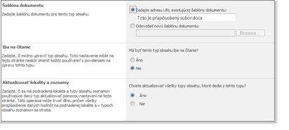 Rozšírené nastavenia pre typy obsahu lokality