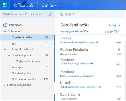 Hlavné zobrazenie Outlooku na webe