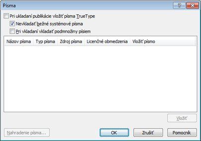 Správa vložených písiem v programe Publisher 2010