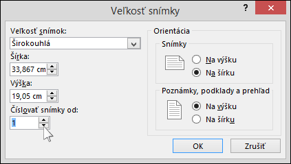 Dialógové okno sveľkosťou snímky v PowerPointe