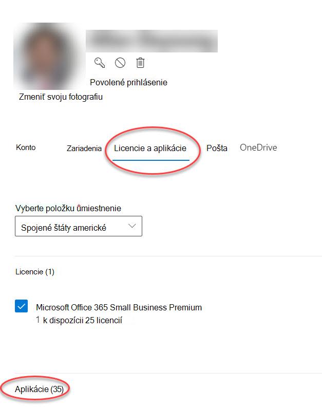 Formulár možnosti konta v centre spravovania pre Microsoft 365