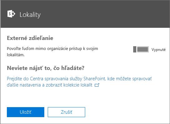 Snímka obrazovky dialógového okna Externé zdieľanie s vypnutým nastavením Umožniť ľuďom mimo organizácie prístup k vašim lokalitám.