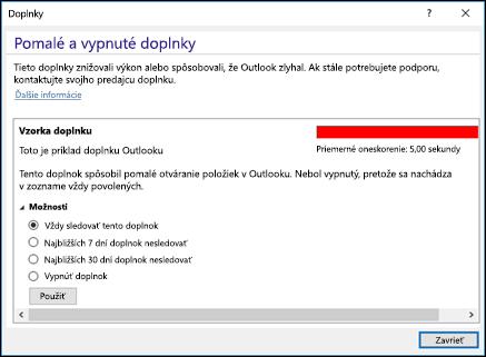 Zakázanie doplnkov programu Outlook