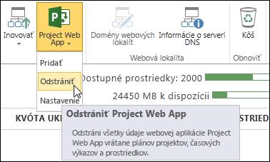 Na páse s nástrojmi kliknite na položku Project Web App a potom na položku Odstrániť.