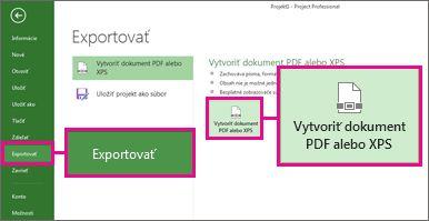 Obrázok tlačidla Vytvoriť dokument PDF alebo XPS