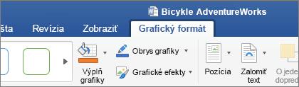 Vybratý obrázok SVG, na páse s nástrojmi povolí kartu formát grafického prvku