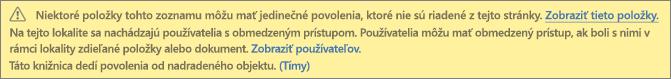 Obrázok znázorňujúci správu týkajúcu sa jedinečných povolení pre zoznam alebo knižnicu