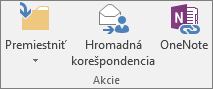 Tlačidlo Hromadná korešpondencia sa nachádza na karte Domov v skupine Akcie.