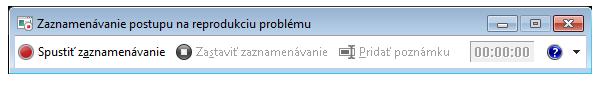Snímka obrazovky zaznamenávania postupu alebo PSR.exe.