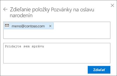 Snímka obrazovky spozvaním ľudí po výbere e-mailu vdialógovom okne Zdieľať