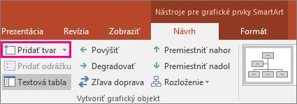 Zobrazí sa tlačidlo Pridať tvar v nástrojoch pre grafické prvky SmartArt
