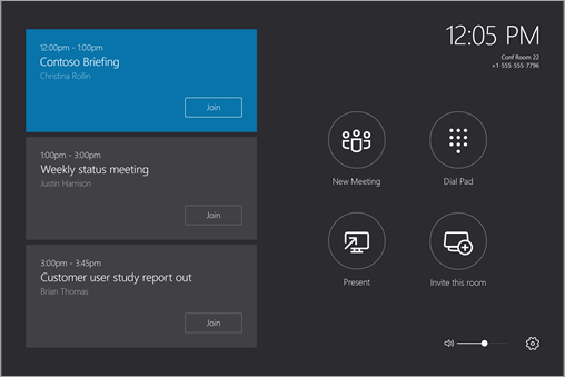 Okno konzoly Skype Room System