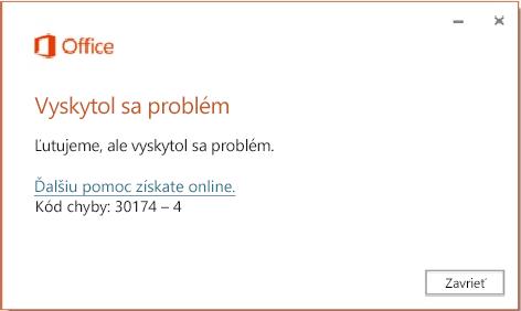 Kód chyby 30174-4 pri inštalácii balíka Office