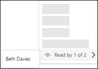 Teams snímky obrazovky s potvrdením o prečítaní.