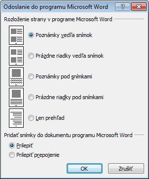 Dialógové okno Odoslať do Microsoft Wordu
