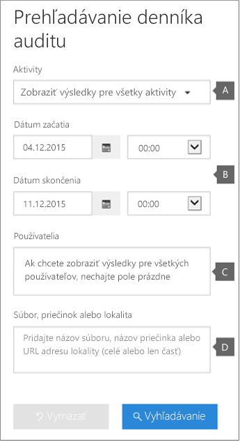 Konfigurujte kritériá apotom kliknutím na položku Hľadať spustite zostavu