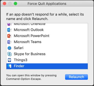 Snímka obrazovky Findera v dialógovom okne Force Quit Applications v Macu