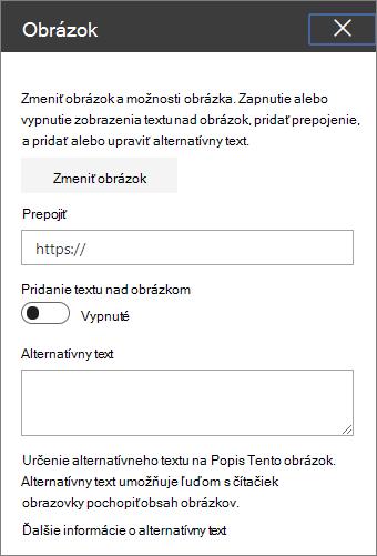 Obrázok webovej časti panela s nástrojmi