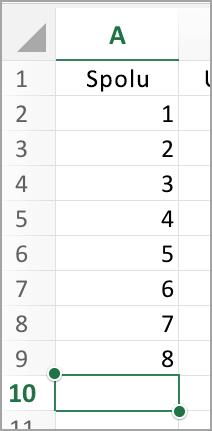 Výber stĺpca pre Automatický súčet