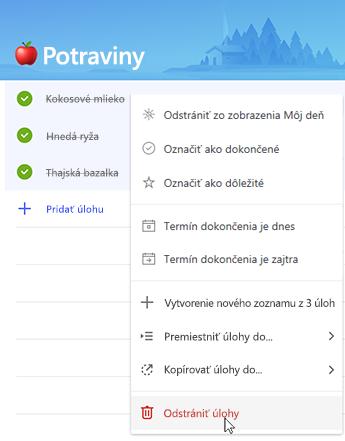 Snímka obrazovky smožnosťou na odstránenie úloh vkontextovej ponuke