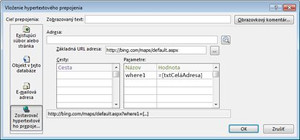 Dialógové okno Vloženie hypertextového pripojenia