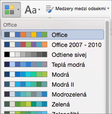 Možnosti farieb, po kliknutí na tlačidlo farby