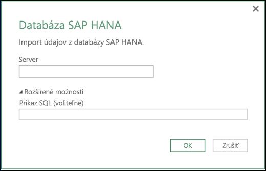 Power BI v Exceli – dialógové okno importu z databázy SAP HANA